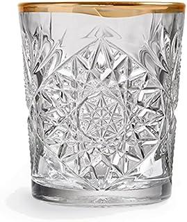 Libbey - Hobstar - Whiskyglas, Wasserglas, Saftglas - Kristall - mit wellenförmigen Goldrand - 1 Stück