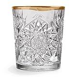 Libbey - Hobstar - Whiskyglas, Wasserglas, Saftglas - Kristall - mit wellenförmigen Goldrand - 1...