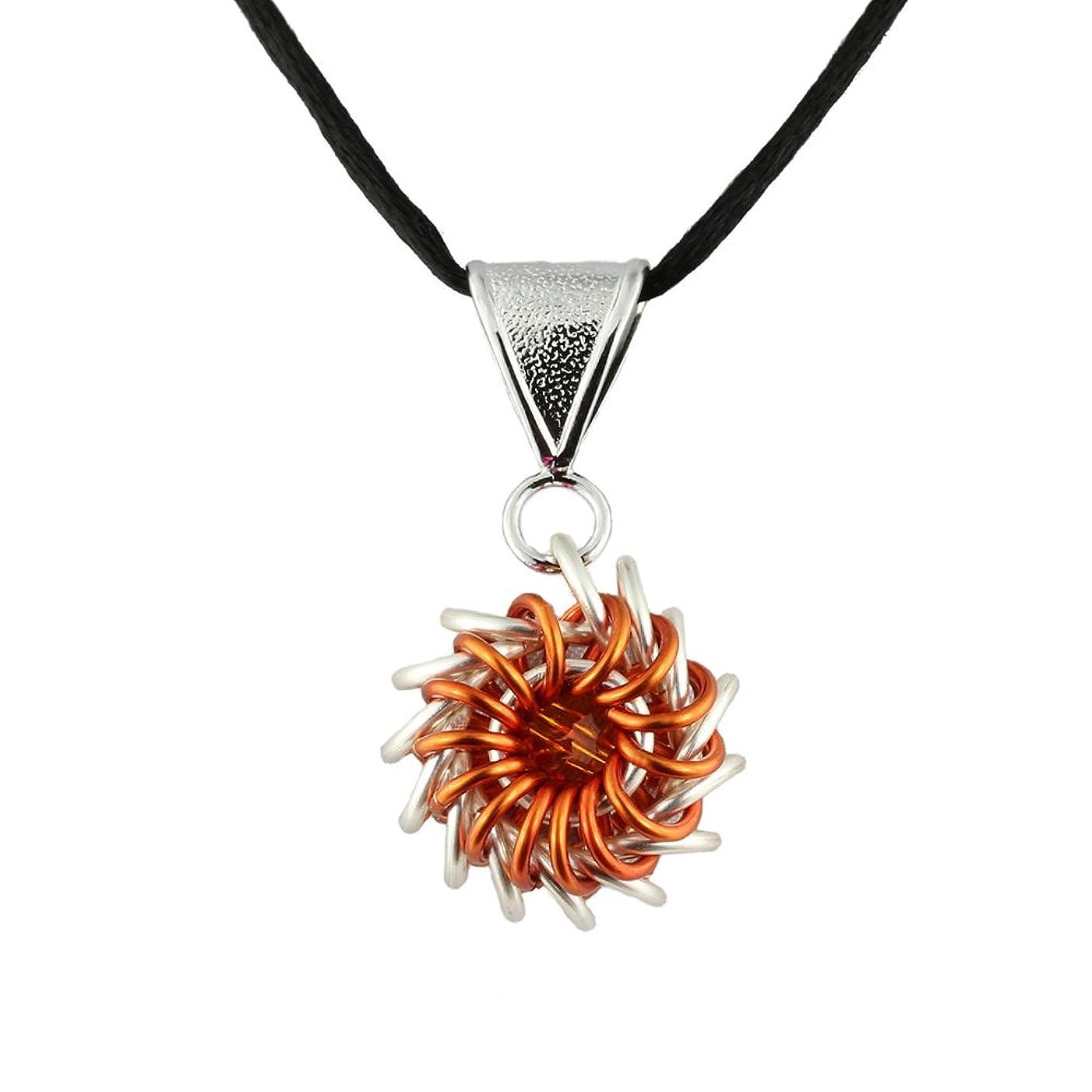 Weave Got Maille Orange Whirlybird Chain Maille Necklace Kit with Swarovski Crystal,