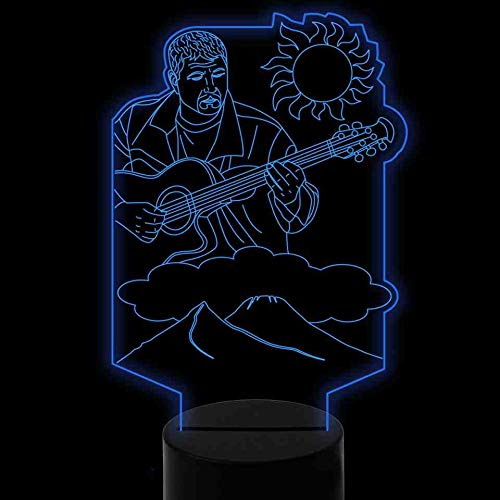 RJGOPL Led-3D-nachtlampje, creatief, zanger, gitaar, modelleer, bureaulamp, verlichting thuis, 7 kleurverandering, Luminaria, kinderen, slaapkamer, decoratie, cadeau