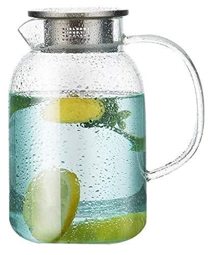 Jarra de cristal con tapa de borosilicato, jarra de té helado, jarra de agua caliente y fría, jarra de jugo para té de flores, juego de té