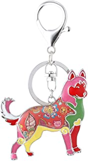 Marte&Joven Siberian Husky Keychain for Women Dog Lover Unique Enamel Dog Jewelry Gift