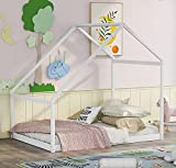 DXW-Y Toddler Wood House Bed Frame with Drawers, Kids Daybed Extending Bed, Twin to King Design Sofa Bed for Girls Boys Teens Adults, Trundle Bed Frame with Roof, White (Color : White, Size : Full)