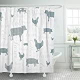 Emvency 72'x72' Shower Curtain Waterproof Bathroom Home Decor Modern Farmhouse Cow Chicken and Pig Pattern in Blue Gray Green Silver Swirly Script Polyester Fabric Adjustable Hooks Set