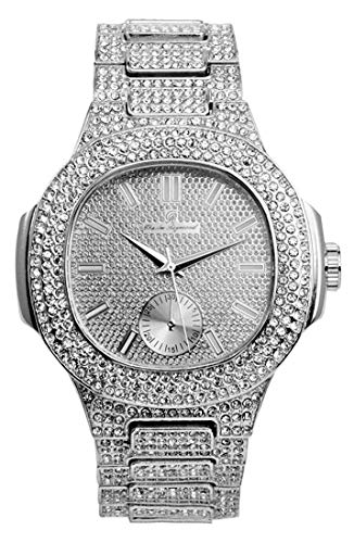 Bling-ed Out Oblong Metal Mens Color on Blast Watch - 8475Color (Silver)