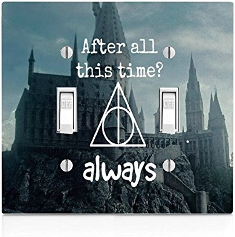 Trendy Accessories Old Castle Background Interesting Quote Design Print Image Double Light Switch Plate