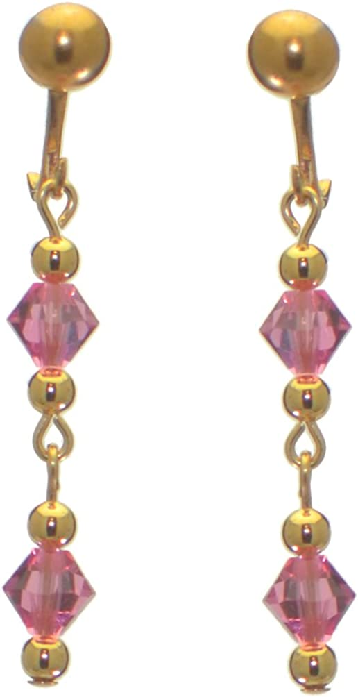 ADONA gold plated swarovski elements rose pink crystal drop clip on earrings