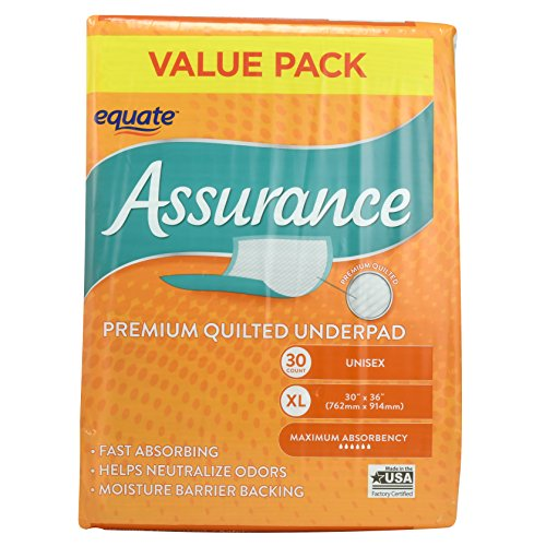 Assurance Premium Quilted Underpad, Value Pack, XL 30 COUNT (2 Pack)