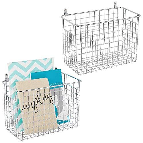 mDesign Juego de 2 estantes de pared de metal – Estantería de rejilla grande para pasillo, dormitorio, etc. – Organizador de cartas, carteras, gafas de sol o accesorios de baño – plateado