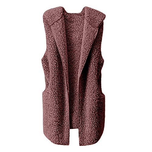 Chaleco para Mujer Calentar Abrigo con Capucha de Abrigo de Invierno Abrigo Informal Chaqueta de Abrigo Chaleco sin Mangas de Felpa con Capucha Outwear riou