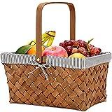 G GOOD GAIN Woodchip Cesta de picnic con un solo asa, huevos de Pascua tejidos a mano y cesta de caramelo, cesta de almacenamiento de mimbre, cesta de regalo pequeña de mimbre, color gris