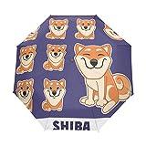 Paraguas de Viaje Compacto Shiba Set Auto Open Close Paraguas Resistente al Viento Anti-UV