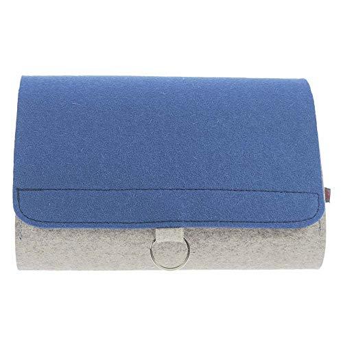 ebos Wickeltasche   handgefertigte Windeltasche aus reinem Wollfilz   Platz für Windeln, Feuchttücher, Cremes, Baby-Öl, Pflaster und Globuli   grau/blau
