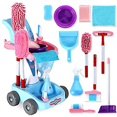 KLT Kids Cleaning Set, Pretend Play Detachable Housekeeping Cart Trolley, Kids Broom Set, Cleaning Supplies Toy for Kids Toddler Boy and Girl with Kids Broom and Dustpan Set Cleaning Tools (Pink) by KLT