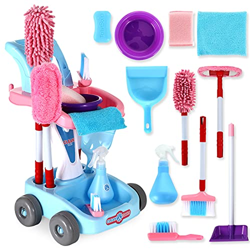 KLT Kids Cleaning Set, Pretend Play Detachable Housekeeping Cart Trolley, Kids Broom Set, Cleaning Supplies Toy for Kids Toddler Boy and Girl with Kids Broom and Dustpan Set Cleaning Tools (Pink)