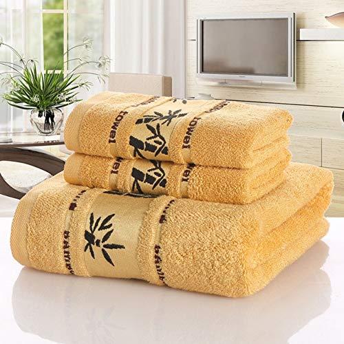MAWA Juego de Toallas de Fibra de bambú Toalla de baño para el hogar para Adultos, Toalla para Lavar la Cara, Toalla de baño de Lujo Absorbente Gruesa, Amarillo, 1pcs34x75cm