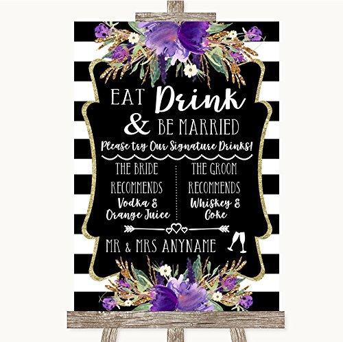 Bruidsbord Poster Print Zwart & Wit Strepen Paars Handtekening Favoriete Dranken Kan Volledig Aangepast Elke Wording Of Kleur - Perfect Venue Decoratie (A3) Large