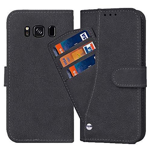 Asuwish Galaxy S8 Funda, Funda de piel plegable Funda Case con Tarjetero Magnético, Piel Mate, Flip Cover Stand Resistente a Golpes y Polvo Fundas para Samsung Galaxy S 8 8S GS8 Negro