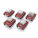ARCELI A4988 Compatible con Stepper StepStick Motor Diver Module con disipador de Calor para Controlador de Impresora 3D Rampas 1.4 (Paquete de 5 Piezas) - Rojo