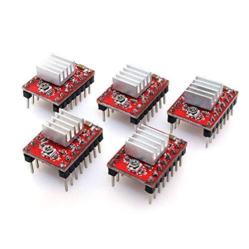 ARCELI A4988 kompatibles Stepper-StepStick-Motortauchermodul mit Kühlkörper für 3D-Drucker-Controller-Rampen 1,4 (Packung mit 5 Stück) - Rot