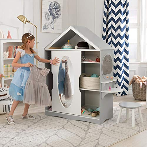 KidKraft Wooden Dress Up Armoire & Vanity with Costume Storage & Mirror, Children's Furniture