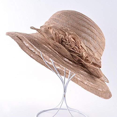 EimerhutDamen Sonnenmütze Für Frauen Im Freien Lässig Strandhut Spitze Blume Kopfbedeckung Urlaub Hüte Damen Breite Krempe Eimer Kappen-Braun_56-58Cm