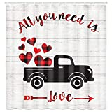 MERCHR Rustic Retro Valentine's Day Shower Curtain, Black and Red Buffalo Plaid Shower Curtains, Romantic Love Hearts Balloons and Truck Shower Curtain for Bathroom with Hooks 69x70 inches