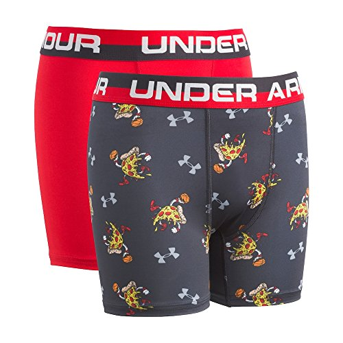 Under Armour Kids Boy's 2-Pack Pizza Dunk Boxer Set (Big Kids) Anthracite X-Small