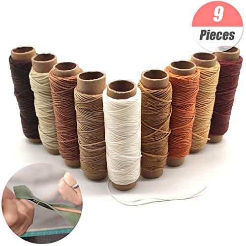YuChiSX 9 Rollos hilo encerado de piel,Cuero hilo de hilo encerado,Multiolores hilo de cuero para coser a mano y máquina cuero manualidades