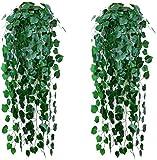 2 plantas de enredaderas artificiales, hiedra, plantas artificiales para colgar en la pared, interior, exterior, jardín, boda, maceta colgante, decoración