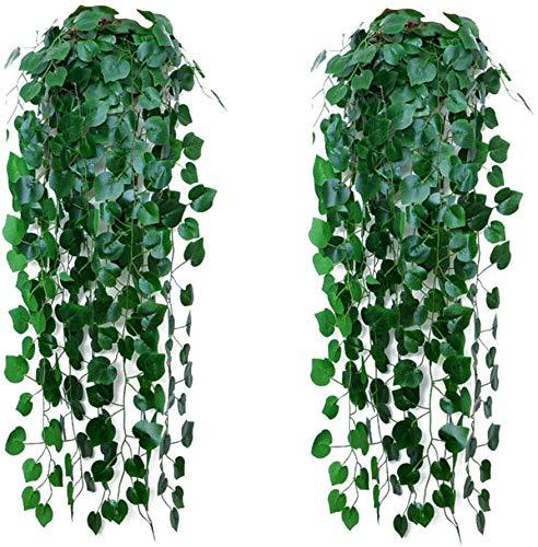 2 Plantas de Enredaderas Artificiales, Hiedra, Plantas Artificiales para Colgar en la Pared,...