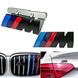 2 In 1 BMW M Front Grille Emblem Side Badge Sticker 3D Chrome Badge Metal Power Car Fashion Logo for BMW M M3 M5 X1 X3 X5 X6 E30 E34 E36 E39 E46 E60 E90 E92 (Black)