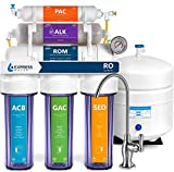 Express Water Reverse Osmosis Alkaline Water Filtration System – 10 Stage RO Water Filter with Faucet and Tank – Under Sink Water Filter – with Alkaline Filter for added Essential Minerals – 100 GPD, ROALK10DCG, Clear