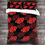 """Super 3-Piece Bedding,Japanese Anime Naruto Logo Poster Convenient Bed Sheets Set,Anti-Allergy Premium Bedding Set Full for Naruto Anime Fans Summer Teens Kids Room,86""""x70"""""""
