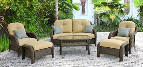 Hanover Newport 6-Piece Outdoor Wicker Lounge Set, Brown/Tan