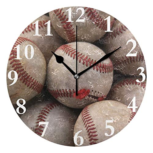 Ladninag Wall Clock Baseball Sports Silent Non Ticking Decorative Round Digital Clocks for Home/Office/School Clock