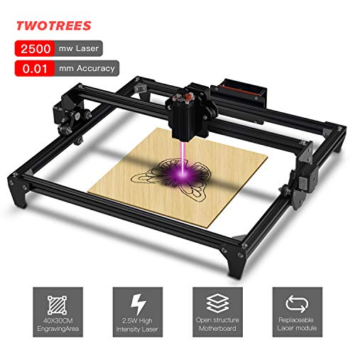 Twotrees DIY CNC Graviermaschine Laserengraver Kits 440X480 mm 12 V USB Desktop Laser Engraver (Schwarz, 2500mw)