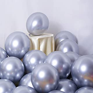 Party Balloons 50 Pcs 12Inch Metallic Chrome Helium Shiny Latex Thicken Balloon Perfect Decoration for Wedding Birthday Baby Shower Graduation Christmas Carnival Party Supplies Silver