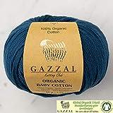 Gazzal, filato di cotone biologico per bambini, 5 gomitoli (confezione da 50 g) per un totale di 100% cotone biologico, 50 g, 125 m (115 m), 3 DK chiaro, blu – 437