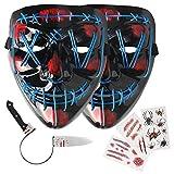 Máscara de Halloween LED Light Up Máscara máscara de miedo para el Festival Cosplay - Azul