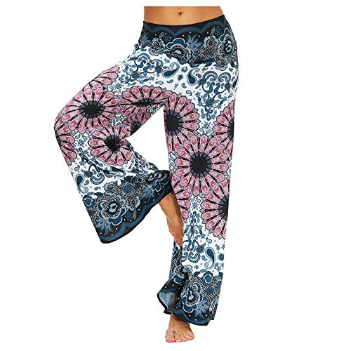 Mujer Pantalones Caderapies Tailandeses Estampado Verano Cintura Alta Elastica con Bolsillos para Yoga Casual Pantalones Anchos Sueltos