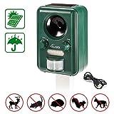 Fox Dog Repellent, Volador Solar/USB Powered Ultrasonic Animal Deterrent, Waterproof Garden Cat Repellent/Alarm, Motion Sensor and Flashing Light Birds Repeller for Squirrel Moles, Rats, Pigeons...