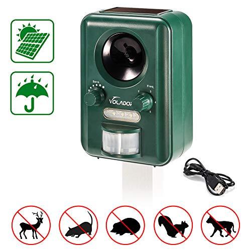 Volador, Solar/USB Alimentado Perros Ultrasónico, Impelente Repelente Jardin, Sensor de Movimiento y...