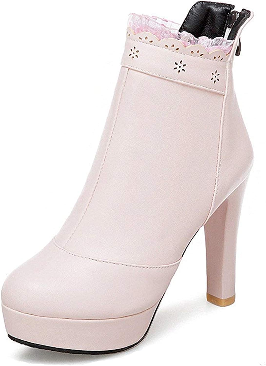 Unm Women's Round Toe Platform Booties - Lace Chunky Zip up - High Heel Ankle Boots