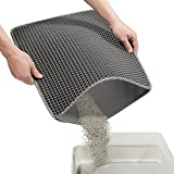 """Conlun Cat Litter Mat Kitty Litter Trapping Mat 18"""" x17"""" Honeycomb Double Layer, Urine Waterproof, Easier to Clean, Litter Box Mat Scatter Control, Less Waste, Soft on Paws, Non-Slip"""