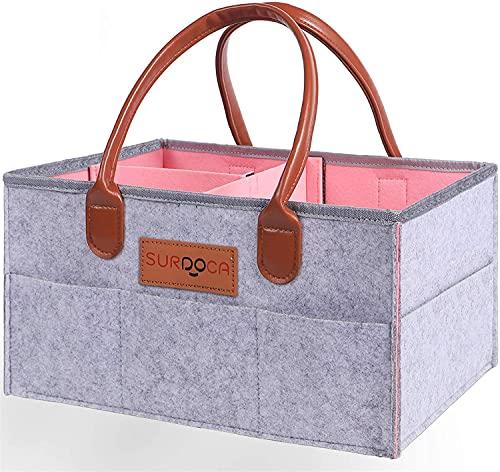 SURDOCA Baby Windel- Wickeltasche aus natürlichem Filzmaterial. Tragbare Wickeltasche für's Kinderzimmer, als Geschenk zur Geburt, Griff aus weichem Kunstleder, Mehrzweckkorb, grau und pink