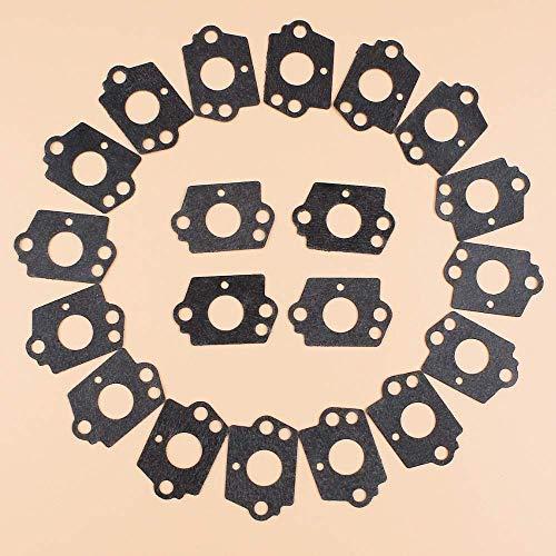 20 piezas juntas de carburador de motosierra aptas para Husqvarna 50 51 55 Rancher 136, 137, 141, 142, 36, 41, 123, 223, 323, 325, 326, 327, 445, 450 nuevo