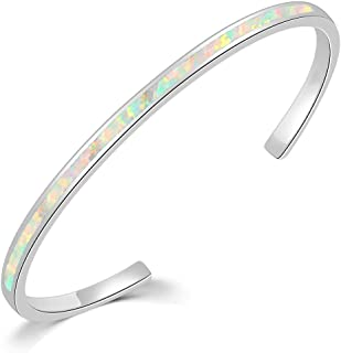 Sponsored Ad - CiNily Womens Cuff Bracelet,Opal Bangle Bracelets Gold Plated Hypoallergenic Birthstone Bracelets Ladies Ge...