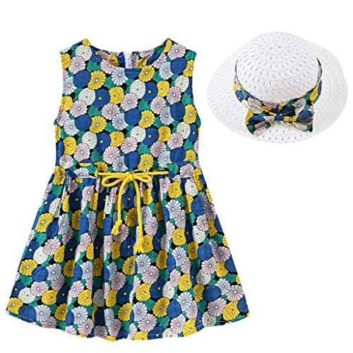 IMJONO Style de Vacances Fille Robe sans Manches Robe à Fleurs bébé Fille + Chapeau de Paille Ensemble de vêtements pour 2020 Tenue d'été pour Enfants 2-7 Ans (Bleu,5-6 Ans