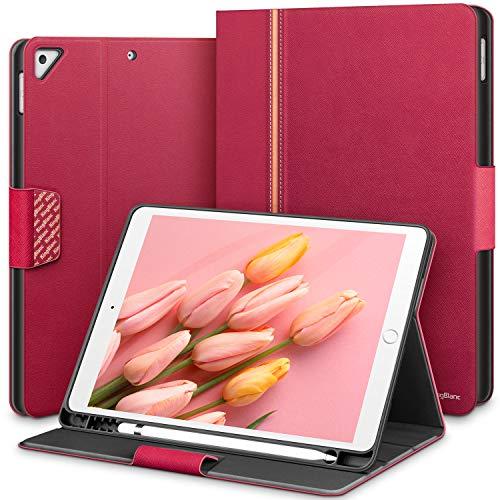 KingBlanc Funda para iPad Air 3 2019 10.5' /iPad Pro 10.5 2017, iPad 8ª generación 2020/7ª generación 2019 10.2 con soporte para bolígrafo, piel sintética, color rosa